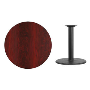 36 Round Mahogany Laminate Table Top With Base Table Height Restaurant Table