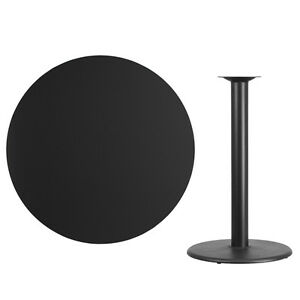 42 Round Black Laminate Table Top With Base Bar Height Restaurant Table