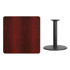 36 Square Mahogany Laminate Table Top With Base Table Height Restaurant Table