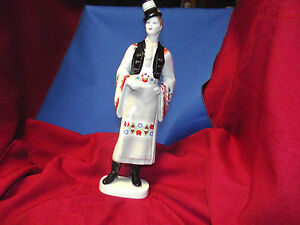 Hollohaza Hungary Man In Top Hat Figurine 1831 Hand Painted Folk Art Porcelain