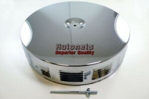 14 Round Louvered Chrome Air Cleaner Kit Hotrod Chevy Ford Mopar Sbc Pontiac