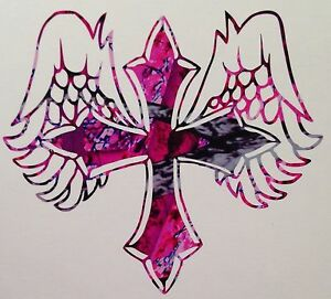 Pink Camo Angel Cross Country Girl Vinyl Decal 5 Wild Love Muddy Cowgirl Rodeo