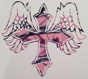 New Pink Camo Angel Cross Country Girl Truck Vinyl Decal 5 Cowgirl Rodeo Hunter