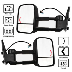 For 03 07 Silverado Gmc Sierra Pickup Tow Mirrors Set Power Heated Led Signals
