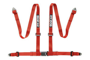 Sparco Racing Seat Belt Safety Harness Street Tuner 2 4 Point Bolt In Red
