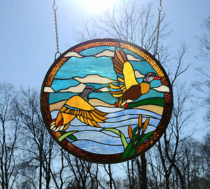 19 75 Dia Two Mallard Ducks Round Handcrafted Stained Glass Suncatcher Panel