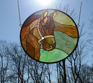 20 Dia Round Horse Head Handcrafted Stained Glass Suncatcher Panel