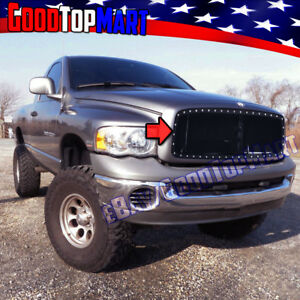 For Dodge Ram 1500 2002 2004 2005 Steel Black Main Mesh Grille Rivet Overlay 1pc