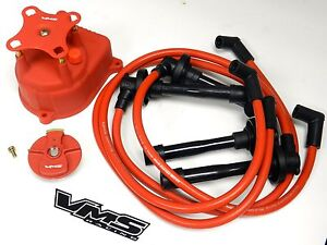 Distributor Cap Rotor Spark Plug Wire Kit For 94 01 Acura Integra B18c5 Red