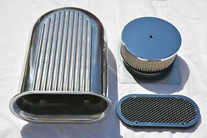 14 Aluminum Hilborn Style Finned Hood Scoop Air Cleaner 4 Barrel Carb 5 1 8