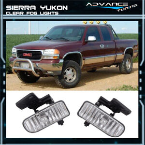 For Sierra Yukon Xl Front Clear Lens Driving Running Fog Lights Lamps Lh Rh