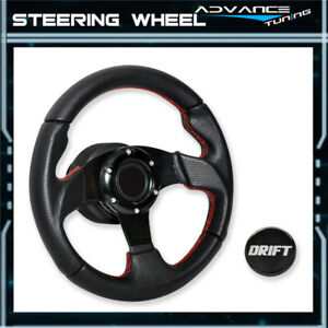 Universal 280mm Racing Steering Wheel Black Pvc Carbon Look Red Stitch Drift