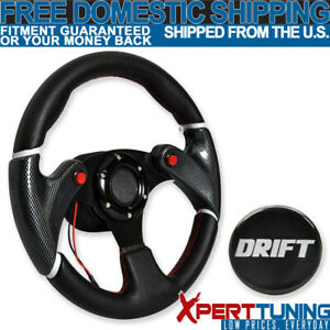 320mm Racing Steering Wheel Carbon Look Black Pvc Leather Red Stitch Drift Logo