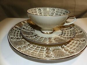 German Antique Bareuther Waldsassen Bavaria Trio Set Tea Cup Saucer