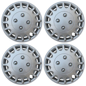 4 Piece Set Silver Lacquer Hub Caps Fits 13 Inch Steel Wheel Covers Cap Cover
