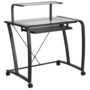 Mobile Glass Computer Desk With Pull out Keyboard Tray And Monitor Platform