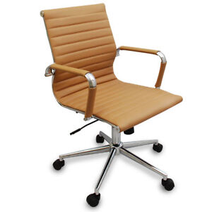 New Tan Modern Ribbed Office Chair Great For Conference Room Tables