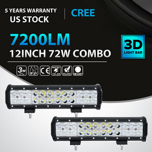 2x 12inch 72w Cree Led Work Light Bar Spot Flood Combo Offroad Puckup 4x4wd 12v