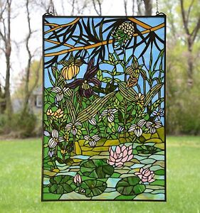 24 X 36 Lotus Lily Pond Flower Handcrafted Stained Glass Window Panel