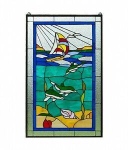 20 X 34 Dolphin Boat Shell Seashore Handcrafted Stained Glass Window Panel