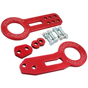 Jdmspeed Billet Aluminum Racing Front Rear Tow Hook Kit Cnc Jdm Anodized Red
