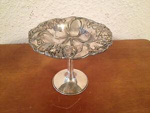 Antique Art Nouveau Pairpoint Mfg Co Quadruple Silver Plated Compote Floral Dec