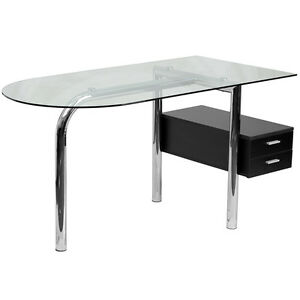 Contemporary Design Glass Office Computer Desk With Two Mahogany Drawer Pedestal