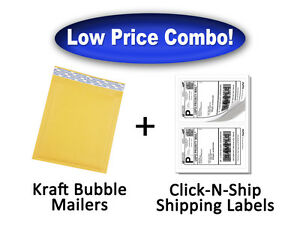 Size 0 Kraft Bubble Mailers 250 Qty free 200 Labels