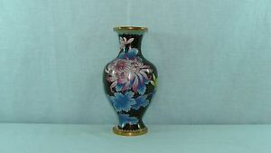 Large Chinese Cloisonne Vase Flower Decoration 10 Tall Nr