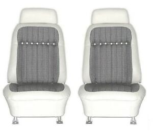 1969 Camaro Deluxe White Houndstooth Bucket Seat Covers