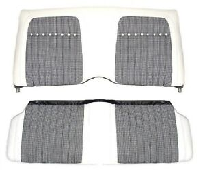 1969 Camaro Deluxe White Houndstooth Interior Rear Seat Covers W fold Down
