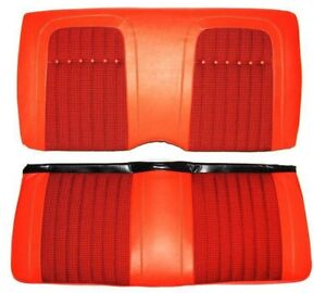 1969 Camaro Deluxe Orange Houndstooth Rear Seat Covers W fold Down