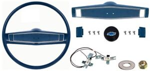 1969 1970 Camaro Chevelle Nova Deluxe Steering Wheel Kit W bowtie Dark Blue