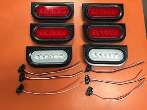6 Led 6 Oval Truck trailer S t t Red W Red Lens And Backup Lights