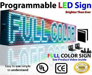 Open Close Led Sign 6 x25 Programmable Scrolling Full Color Message Board