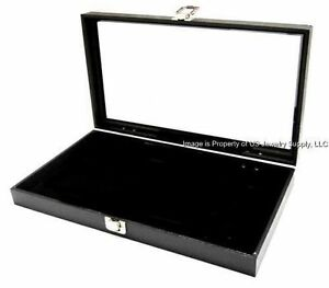 3 Glass Top Lid Black Pad Display Box Cases Militaria Medals Pins Jewelry Knife