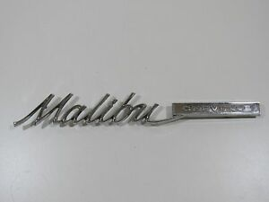 1965 Chevy Malibu Trunk Emblem Badge Script Trim Metal Decal Sign Vintage Gm Car