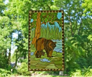 20 X 34 Bear Mother And Son Handcrafted Stained Glass Window Panel