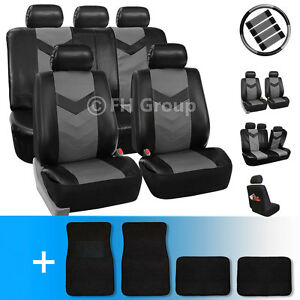 Synthetic Leather Car Seat Covers W Carpet Floor Mats