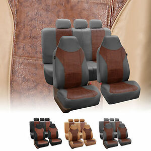 Textured Pu Leather Full Set Auto Seat Covers Air Bag Safe Split Bench Ready