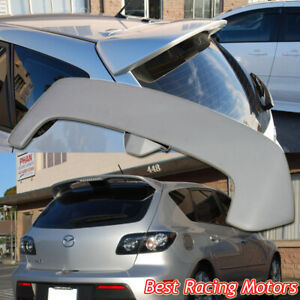Ms Style Roof Spoiler Wing Red Led Fits 04 09 Mazda 3 5dr