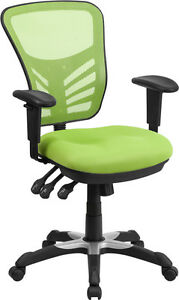 Mid back Green Mesh Office Chair With Triple Paddle Control Task Chair