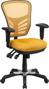 Mid back Yellow Mesh Office Chair With Triple Paddle Control Task Chair