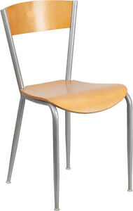 Invincible Series Metal Restaurant Chair With Natural Wood Back