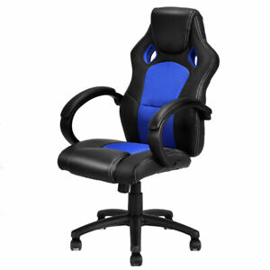 High Back Race Car Style Bucket Seat Office Desk Chair Gaming Chair Blue New