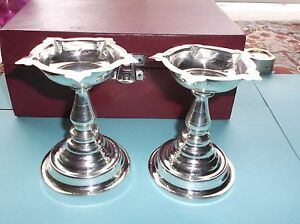 Pair Asian Coin Silver Cups Tazzas Foreing Writing Engraving 77 5g Tw Iob