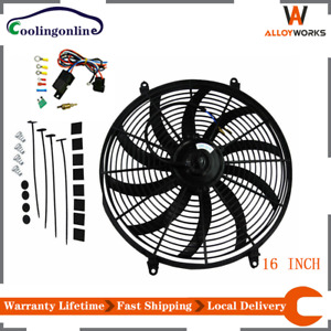 16 Inch 12v Slim Thin Fan Push Pull Electric Radiator Fan thermostat Relay Kit