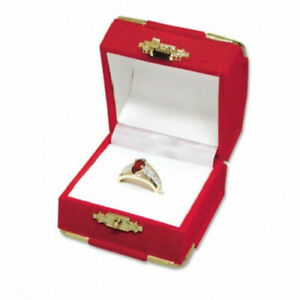 6 Red Velvet Brass Accent Ring Jewelry Display Presentation Gift Boxes