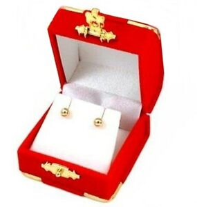 6 Red Velvet Brass Accent Earring Jewelry Display Presentation Gift Boxes