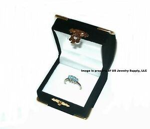 6 Black Velvet Brass Accent Ring Jewelry Display Presentation Gift Boxes